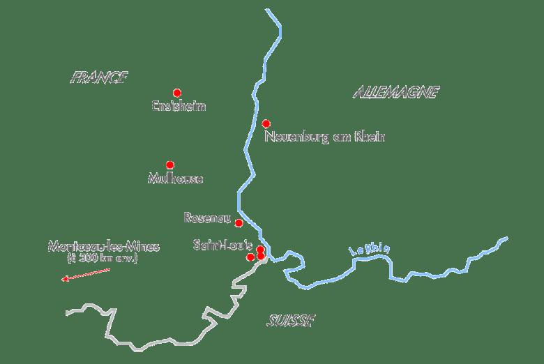Carte représentant l'implantation des sites Bubendorff : Ensisheim, Mulhouse, Roseau, Saint-Louis, Saint-Louis Bourgfelden, Attenschwiller, Monceau-les-Mines et Neuenburg am Rhein.