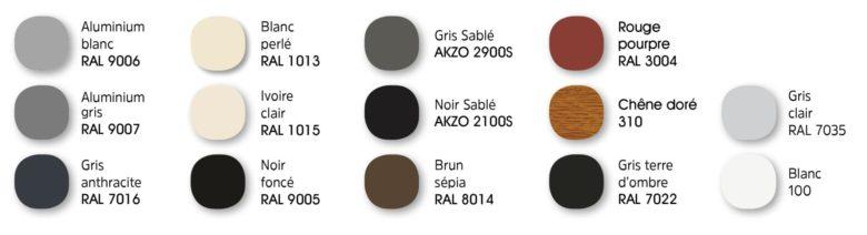 Teintes standard tablier Bubendorff : aluminium blanc (RAL 9006), blanc perlé (RAL 1013), gris sablé (AKZO 2900S), rouge pourpre (RAL 3004), aluminium gris (RAL 9007), ivoire clair (RAL 1015), noir sablé (AZKO 2100S), Chêne doré (310), gris clair (RAL 7035), gris anthracite (RAL 7016), noir foncé (RAL 9005), brun sépia (RAL 8014), gris terre d'ombre (RAL 7022) et blanc (100)