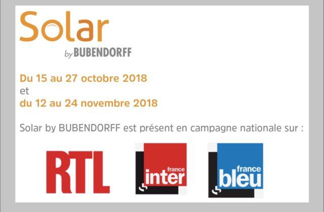En octobre et novembre, l'offre solaire de  Bubendorff brille en radio nationale.